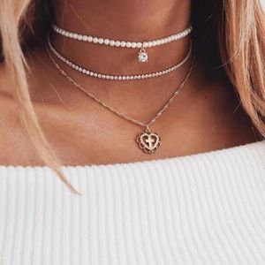 🆕 Layered Heart Cross + Pearl Choker